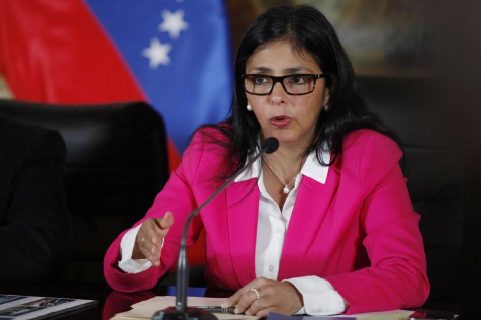 Delcy Rodríguez durante su intervención el pasado domingo.