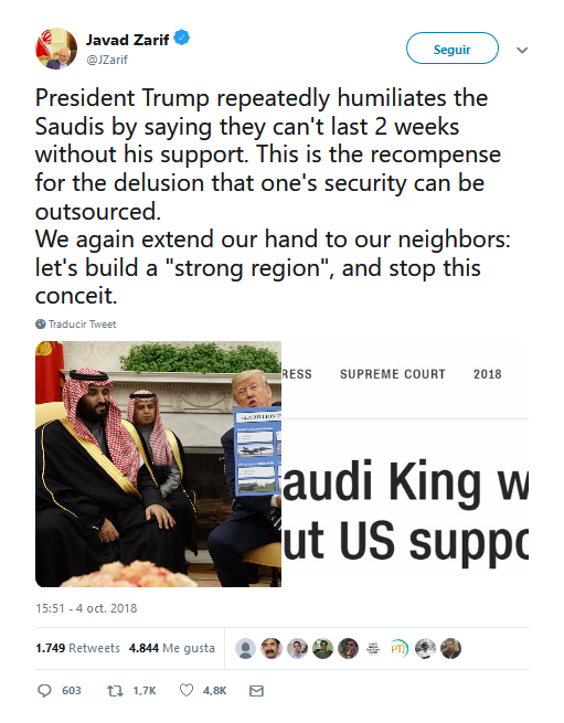 """""""Trump humilla a los sauditas"""" según el Canciller iraní"""